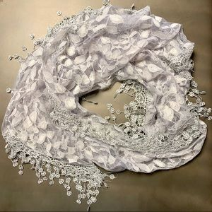 Sheer Gray Floral Lace Scarf